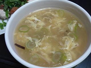 鶏ささみの梅しそ和えと中華スープ_c0025217_1091676.jpg
