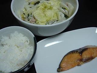 豚バラと白菜の重ね蒸しと焼き鮭_c0025217_1195359.jpg