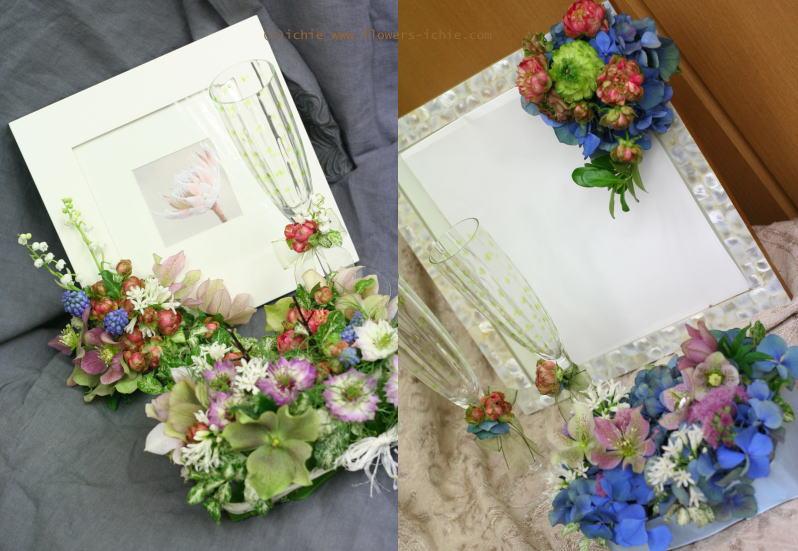 3月のレッスン リングピロー・ウェルカムボード・シャンパングラス装花 その1_a0042928_19211944.jpg