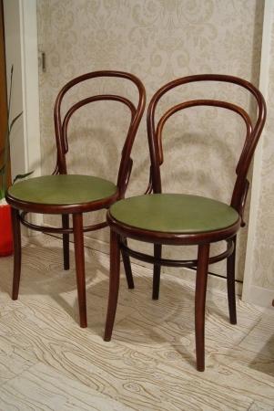 チェコスロバキアの曲げ木椅子 グリーン革仕上げ_a0096367_22424077.jpg