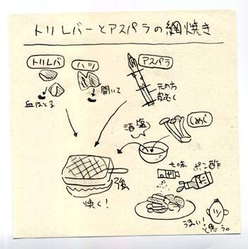 鶏レバーとアスパラ、しめじの網焼き ★★_a0118345_21163658.jpg