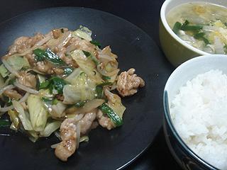 回鍋肉と中華風玉子スープ_c0025217_2216285.jpg