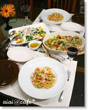 記念日ディナー♪蒸し鶏と空豆のパスタ_a0056451_16313821.jpg