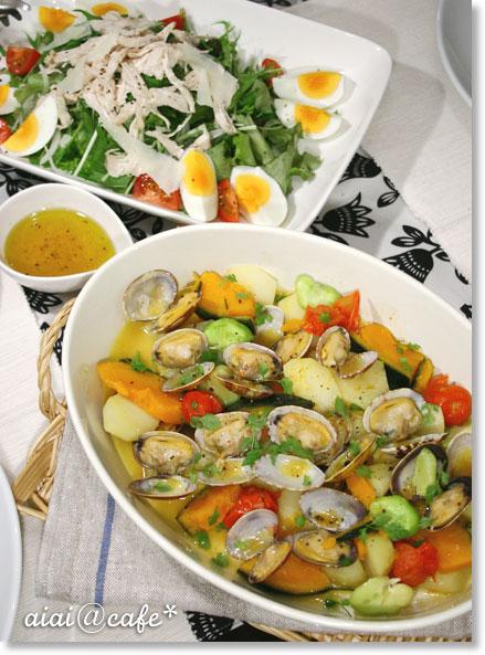 記念日ディナー♪蒸し鶏と空豆のパスタ_a0056451_1631633.jpg