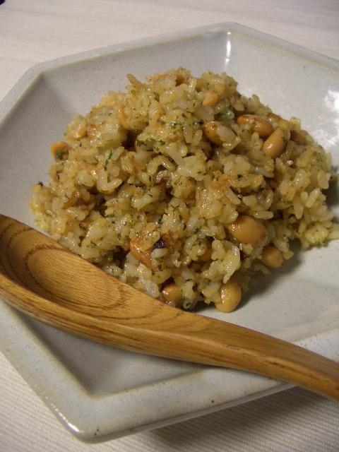 大豆と青海苔のソースめし_d0134753_1646868.jpg