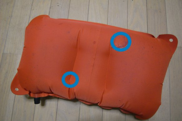 モンベル空気枕修理 / Montbell UL Comfort System Pillow leaking_e0024555_17444923.jpg