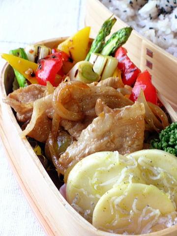 豚の生姜焼きとグリル野菜のマリネ弁当_b0171098_817798.jpg
