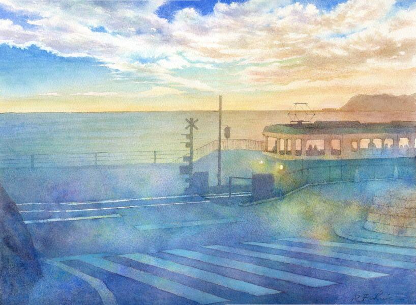 福井良佑の水彩画 Watercolor Terrace