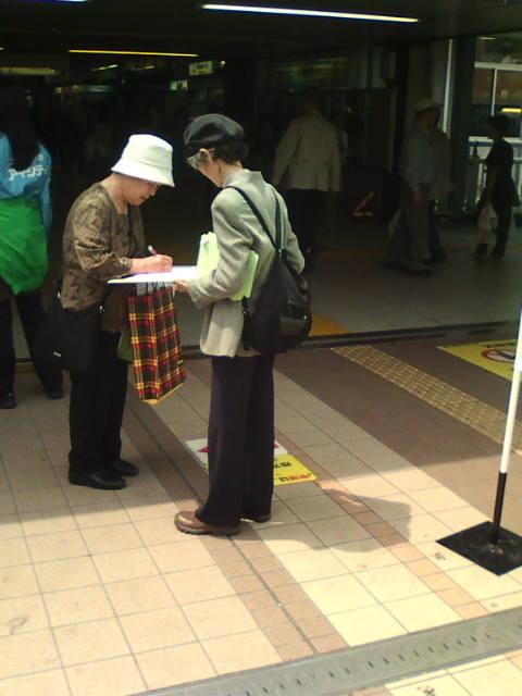 うそつき知事はやめろ松戸駅前で署名活動_e0094315_14475882.jpg