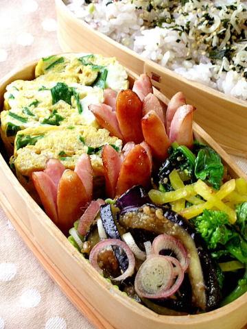 ニラ玉と茄子の味噌炒め弁当_b0171098_9234452.jpg