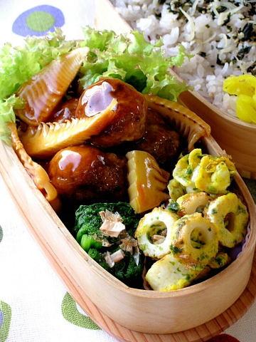 筍と肉団子の甘酢あんかけ弁当_b0171098_208377.jpg
