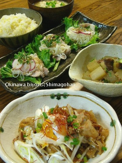 【お肉&野菜】豚しゃぶそうめんサラダ☆豚の甘辛煮♪_c0139375_13575598.jpg