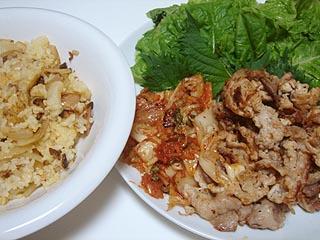 サムギョプサル風豚肉炒めとチャーハン_c0025217_2346327.jpg
