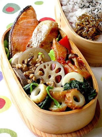 鮭と野菜たっぷりのお弁当_b0171098_743686.jpg