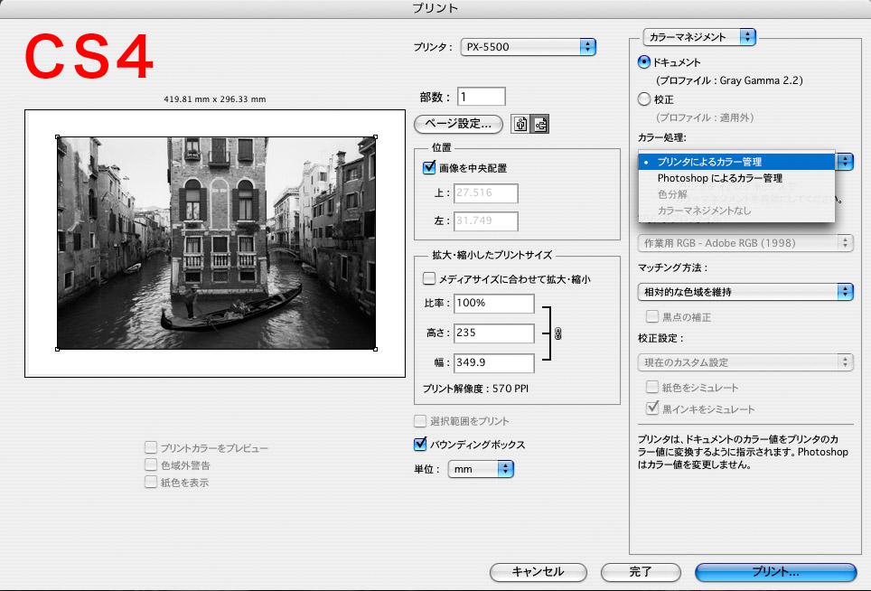 PhotoshopCS4でグレースケール画像をプリントするとき、カラマネなしに出来ない?_f0077521_10423698.jpg