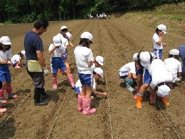 6月6日 今日は北新庄小学校3年生が種まき_e0061225_11323165.jpg