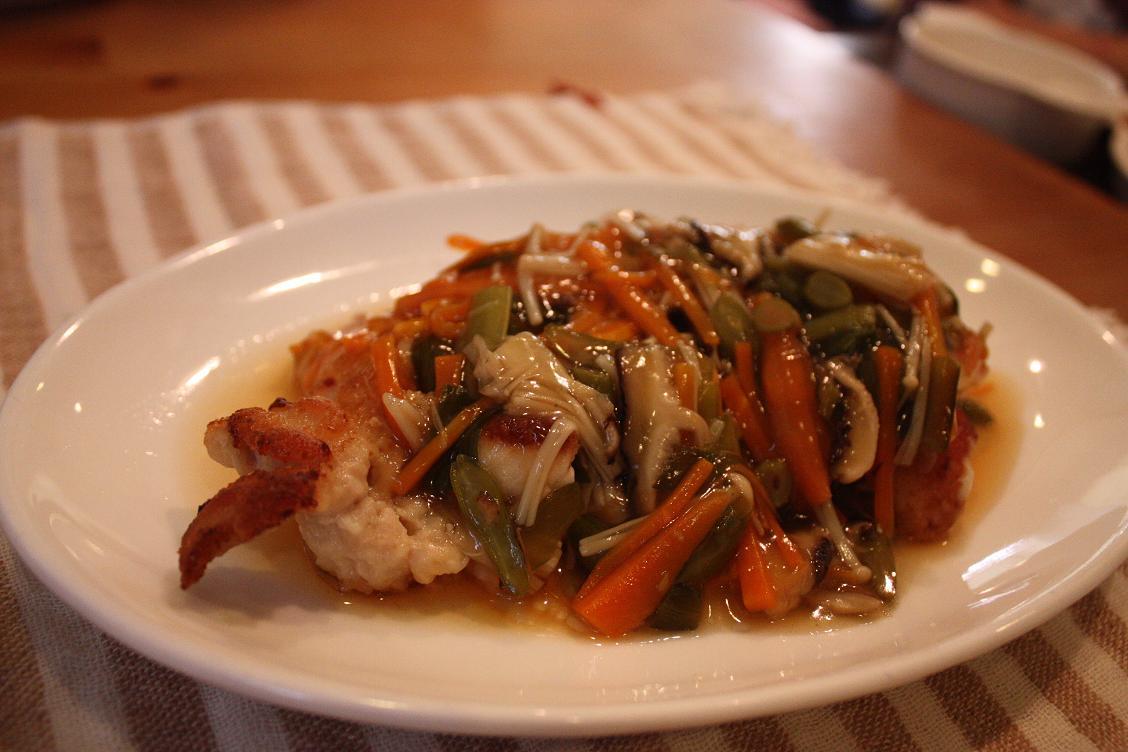 鶏胸肉の野菜たっぷりあんかけ_b0165178_2111486.jpg