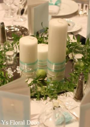ティファニーブルーに合わせる白グリーンの装花_b0113510_1392070.jpg