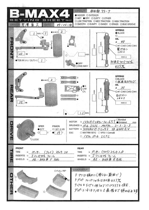 Yokomo B-MAX4 セッティングシート 芹沢139勇久編_e0166663_1441123.jpg
