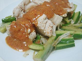 蒸し鶏の辛味ソースがけ_c0025217_1235178.jpg