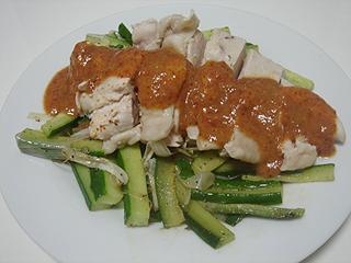 蒸し鶏の辛味ソースがけ_c0025217_1235273.jpg