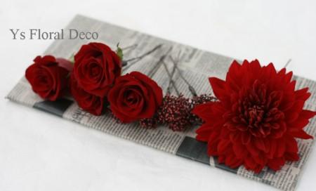 和装のヘッドドレス 赤いお花で_b0113510_164977.jpg
