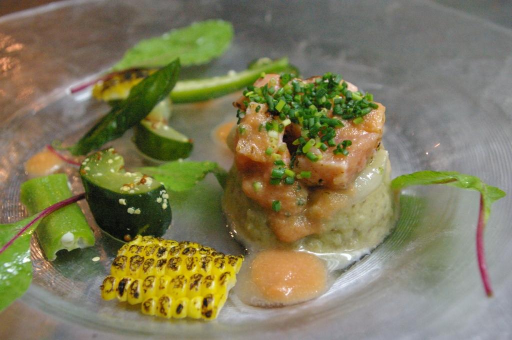 旬の「焼き茄子」と魚介類のタルタル♪_b0077531_2354076.jpg