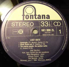 Eric Dolphy  /  Last Data  (US・Limelight盤)_d0102724_1272951.jpg