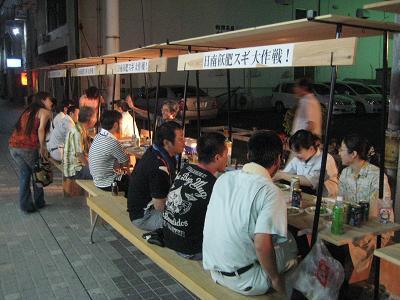 油津の商店街に飫肥杉ヤタイ_f0138874_22113473.jpg