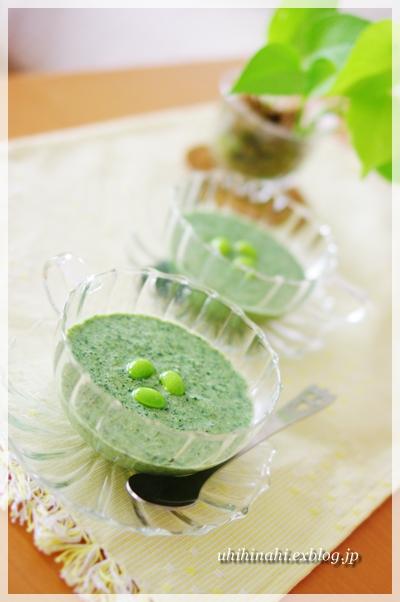 モロヘイヤと枝豆の冷たいスープ_f0179404_20571758.jpg