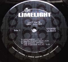 Eric Dolphy  /  Last Data  (US・Limelight盤)_d0102724_1112484.jpg