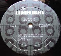 Eric Dolphy  /  Last Data  (US・Limelight盤)_d0102724_1145310.jpg