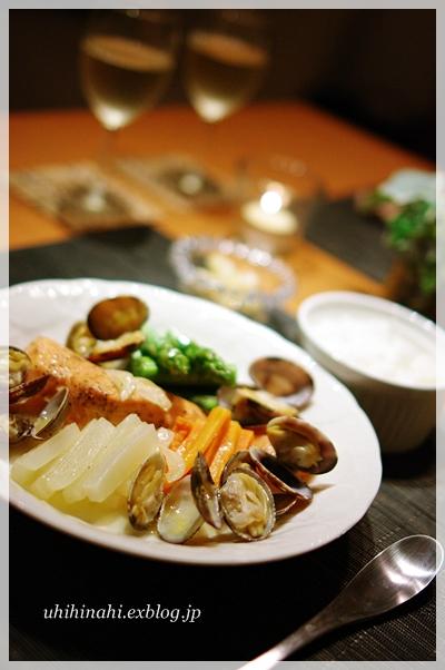 鮭とあさりと野菜のワイン蒸し_f0179404_20523049.jpg