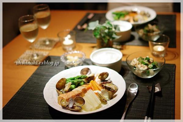 鮭とあさりと野菜のワイン蒸し_f0179404_20575686.jpg