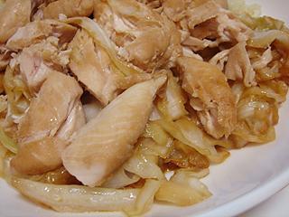 鶏ささみとキャベツのにんにく醤油焼き_c0025217_0505635.jpg
