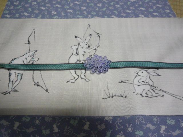 可愛いうさぎの江戸小紋と鳥獣戯画の染め帯。_f0181251_21211082.jpg