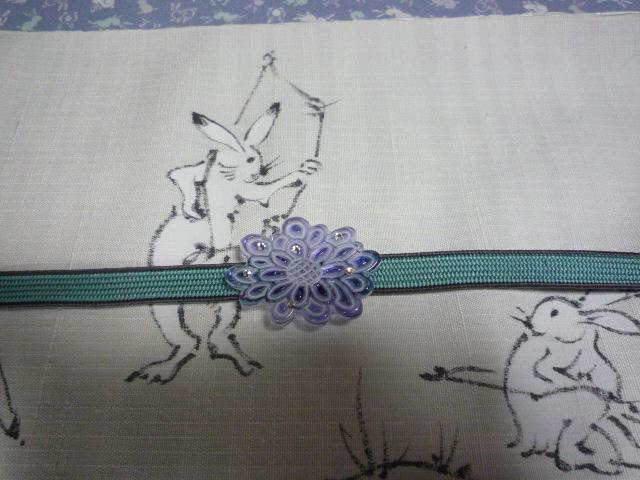 可愛いうさぎの江戸小紋と鳥獣戯画の染め帯。_f0181251_21265333.jpg