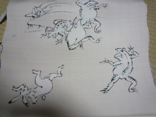 可愛いうさぎの江戸小紋と鳥獣戯画の染め帯。_f0181251_2135672.jpg
