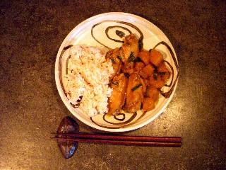 今日の夕飯はカボチャとチキンのウスターソース炒め_e0166355_17284011.jpg