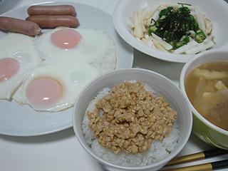 目玉焼きと長芋オクラ和え_c0025217_1752942.jpg