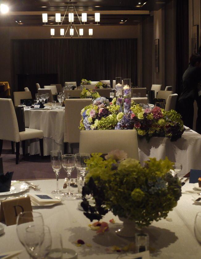 夜のウェディング装花 レモンライムとアジサイ_a0042928_18564653.jpg