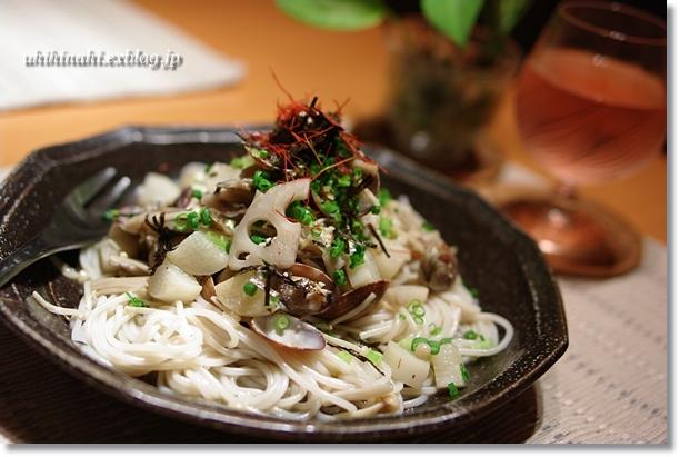 あさりと根菜ときのこのライスパスタ_f0179404_20395482.jpg