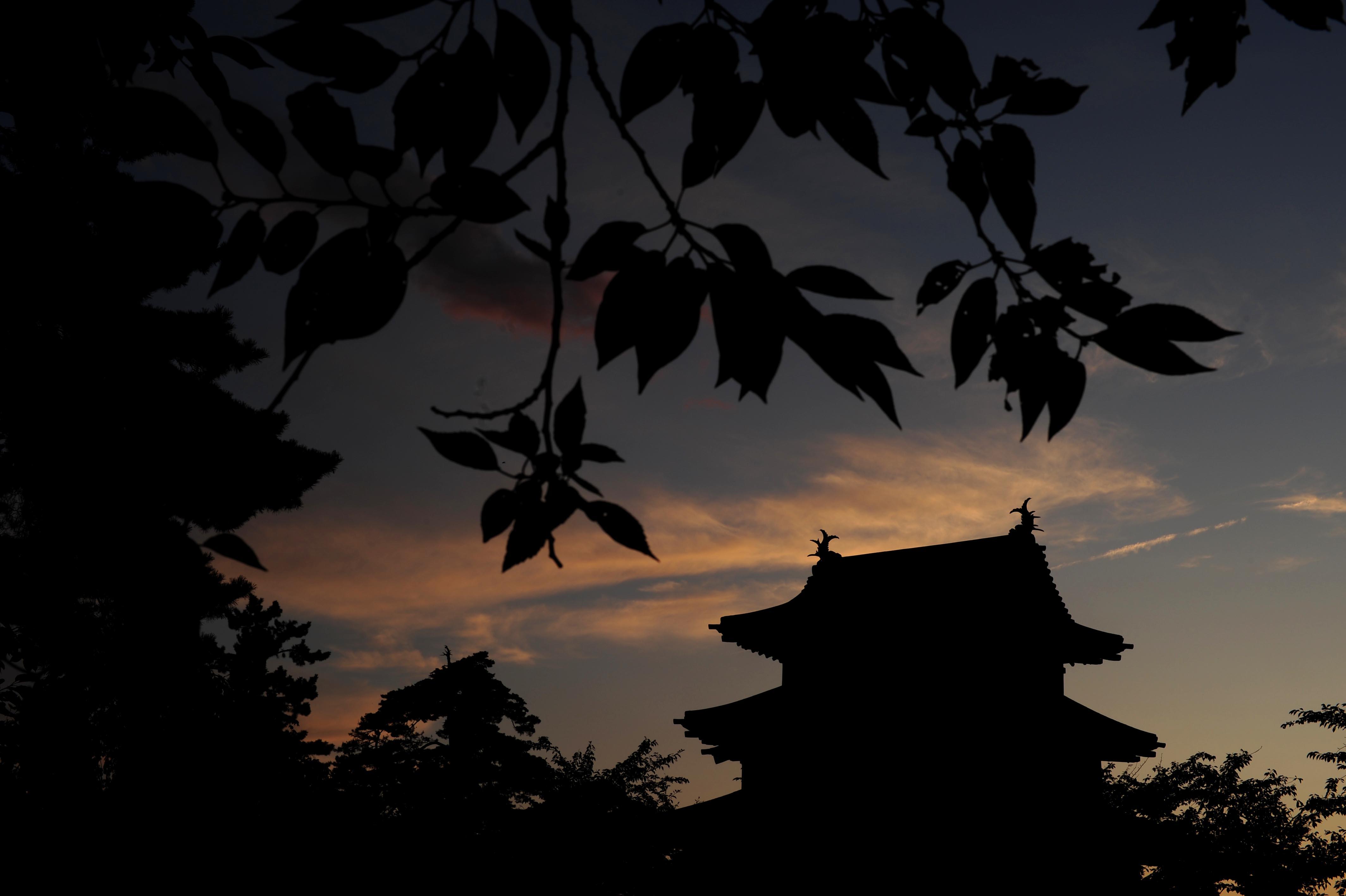 お城と夕焼け_e0157647_6281388.jpg