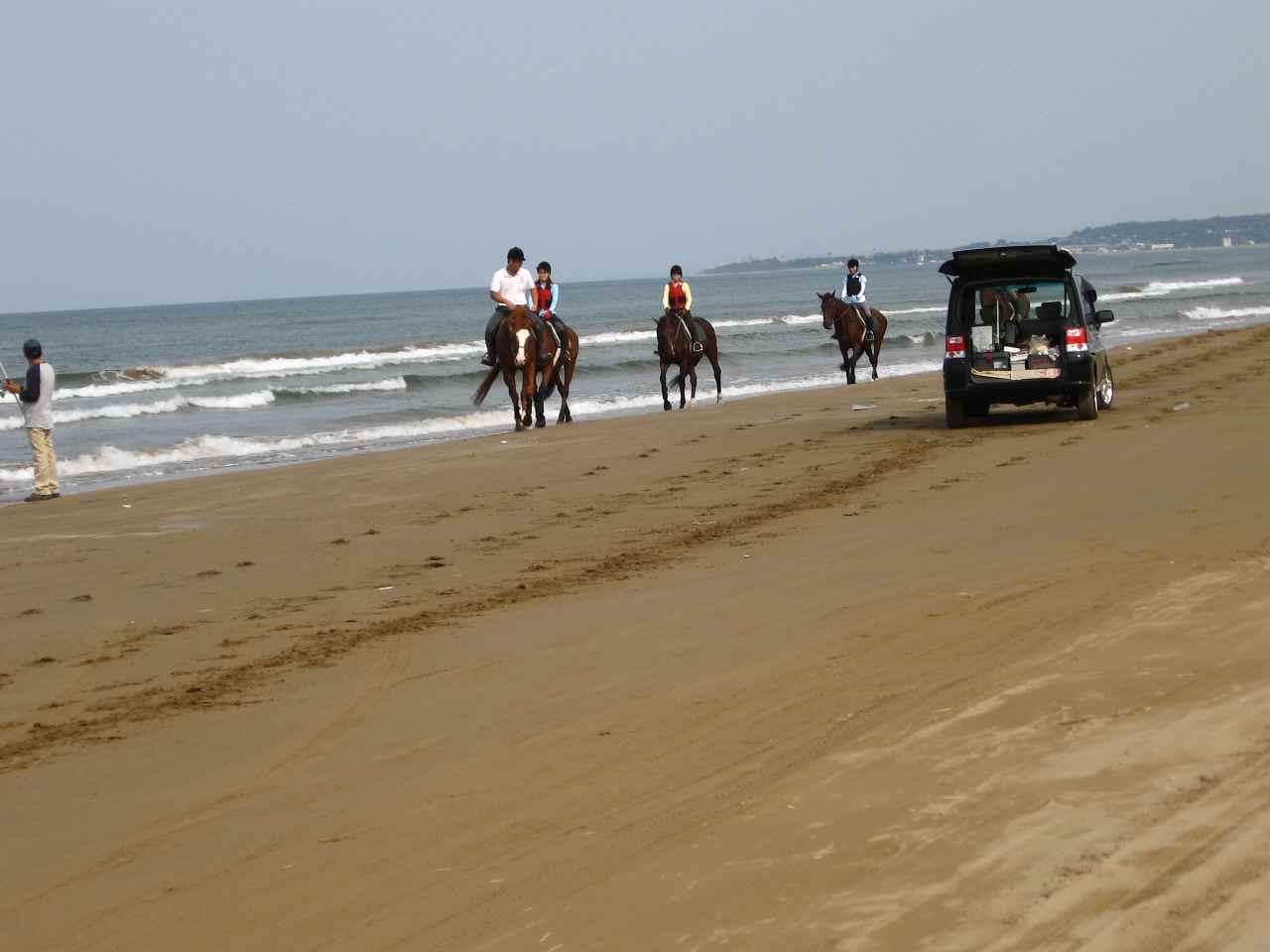 千里浜なぎさドライブウェイで乗馬
