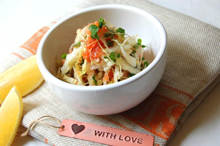 スモークサーモンと白菜のさっぱりサラダとワンプレートランチ☆_d0104926_1492137.jpg