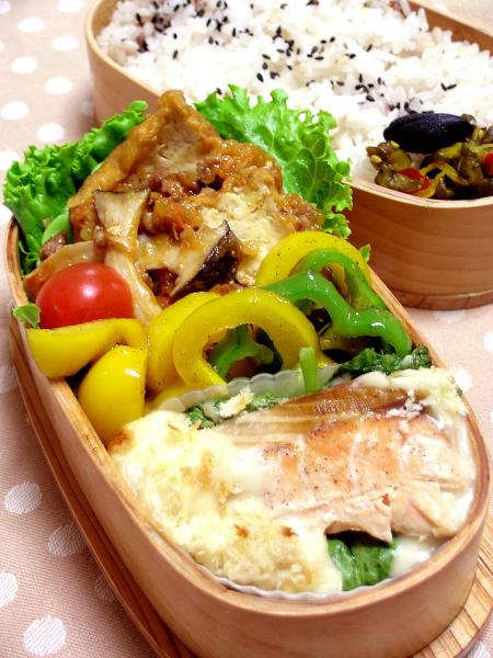 鮭のクリームグラタン風のお弁当_b0171098_7112943.jpg