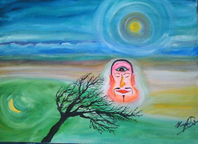 月と太陽 水と空 枯れ木と顔_c0186580_794550.jpg