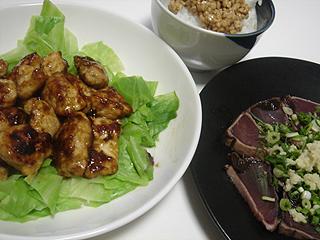 鶏むね肉のカレー炒めと鰹のたたき_c0025217_23383628.jpg