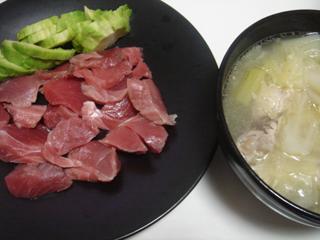 まぐろ刺身と鶏しょうがスープ_c0025217_19433574.jpg