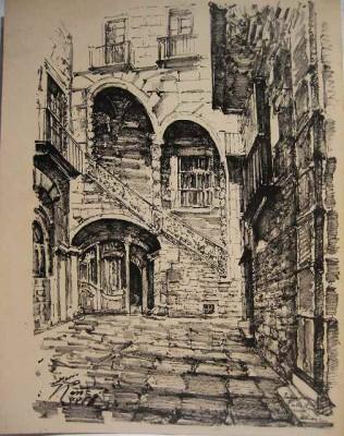 バルセロナ旧市街のスケッチLamina (1920年代) _f0112550_3311217.jpg